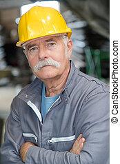 微笑高興, 或者, 工人, 年長者, 工程師, 建設