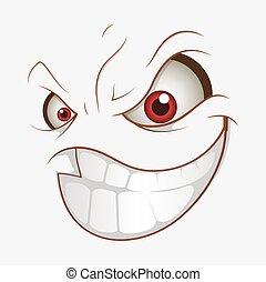 微笑, 坏, 表示, 卡通, 邪惡