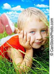 微笑, 愉快, 草, 漂亮, 孩子, 春天