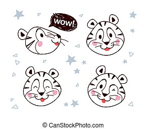 微笑, 肖像, outline, 很少, tiger, 彙整, 眨眼, 矢量, 字, 演說, isolated., 氣泡, 愉快