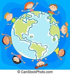 微笑, 背景, 環繞, 世界, 孩子, 孩子, 白色