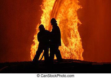 微粒, note:, 噪音, 戰斗, 發怒, 頂部, 火, 針對, 二, 水, 火, 照像機, 消防隊員, 不, 角落, 水霧, 左