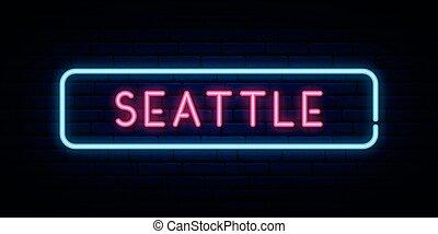 徵候。, 氖, seattle, signboard., 光, 明亮