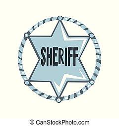 徽章, 星, 郡長, 正義, 插圖, 美國人, 矢量, 背景, 象征, 白色, 銀