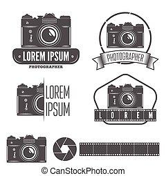 徽章, 相片, 集合, 象征, 攝影師, 標簽, 元素, 工作室, 或者