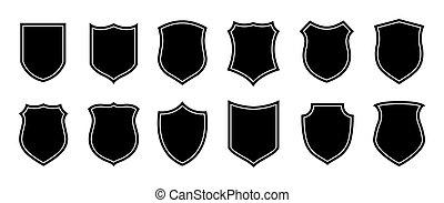 徽章, 警察, 補丁, 軍事, 安全, 盾, 矢量, 背景, 足球, silhouettes., 形狀。, 被隔离, 白色