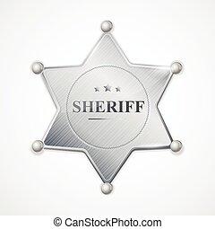 徽章, 郡長, 矢量, 銀色的星