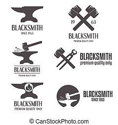 徽章, 集合, 象征, logotype, 元素, 標簽, 鐵匠, 標識語