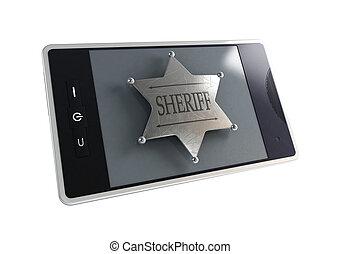 徽章, 電話, sheriff's