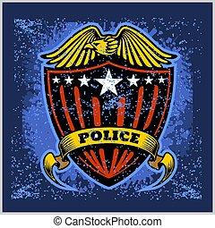 徽章, grunge, 矢量, 盾, 警察, 背景。, 標簽