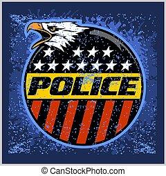 徽章, grunge, 矢量, 美國, 盾, 警察, 背景。, 標簽