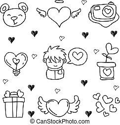心不在焉地亂寫亂畫, 主題, 愛, 插圖