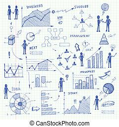 心不在焉地亂寫亂畫, 元素, 圖表, 事務, infographics