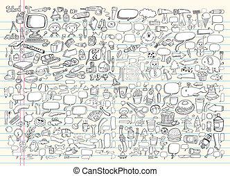 心不在焉地亂寫亂畫, 設計, 矢量, 集合, 元素