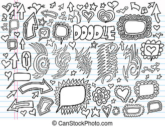 心不在焉地亂寫亂畫, 設計, 矢量, 集合, 筆記本