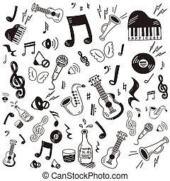 心不在焉地亂寫亂畫, 音樂, 圖象, 集合, 畫, 手