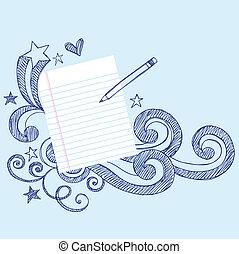 心不在焉地亂寫亂畫, 頁, 紙, 鉛筆, 學校