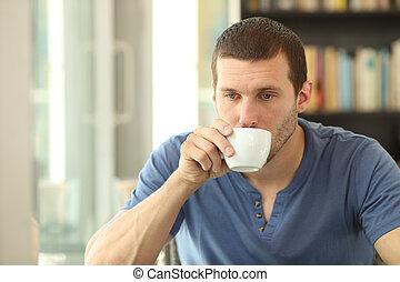 心煩意亂, 人, 酒吧, 喝酒, 成人, 家, 咖啡, 或者