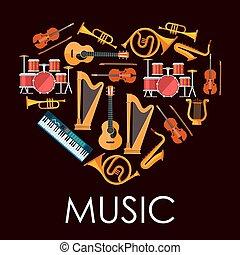 心, 做, 愛, 儀器, 向上, 音樂, 音樂