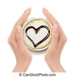 心, 咖啡, hands., vector., 杯子