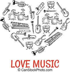 心, 圖象, 儀器, 第一流, 成形, 音樂