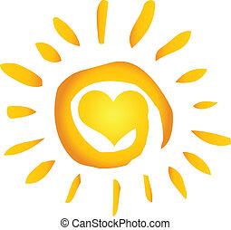 心, 太陽, 熱, 摘要, 夏天