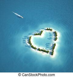 心, 島, 天堂, 成形