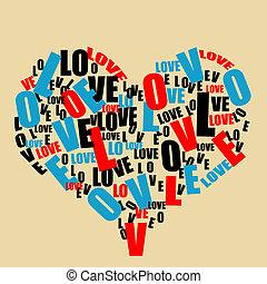 心, 愛, 印刷術, retro