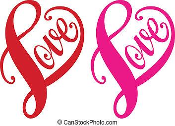 心, 愛, 矢量, 紅色, 設計