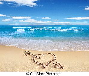 心, 愛, 簽署, 天空, 岸, 背景。, 看見, 箭, 畫, 海灘