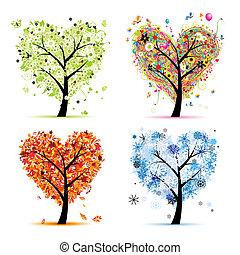 心, 樹, 你, 春天, 季節, winter., -, 秋天, 夏天, 藝術, 四, 設計, 形狀