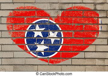 心, 牆, 形狀, 旗, 田納西, 磚