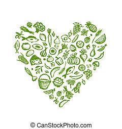 心, 略述, 健康的食物, 形狀, 背景, 設計, 你