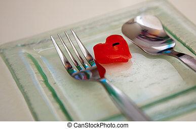 心, 盤子, 玻璃, 蠟燭