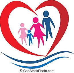心, 矢量, 家庭, 標識語