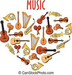 心, 符號, 音樂, 古典, 儀器