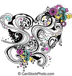 心, 花, 設計, 螺旋, 繁榮