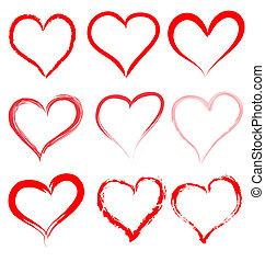 心, 華倫泰, 情人節, 矢量, 心, 天, 紅色