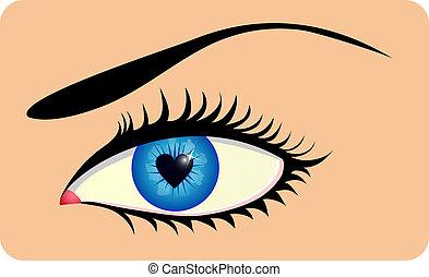 心, 虹膜, 眼睛, 女性, 成形