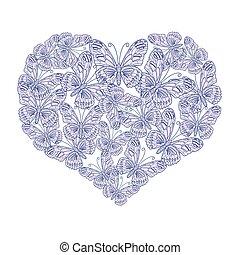 心, 蝴蝶, 白色 背景, 插圖