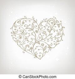 心, 裝飾品, 形狀, 設計, 植物, 你