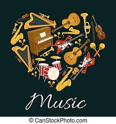 心, 象征, 儀器, 形狀, 音樂, 音樂