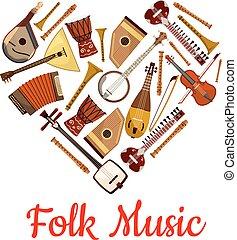 心, 象征, 儀器, 音樂, 音樂, 人們