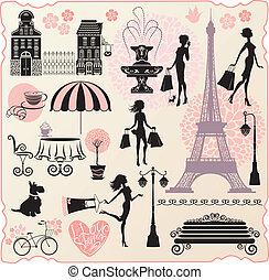 心, 集合, 愛, 購物, 購物, 正文, -, 房子, calligraphic, 袋子, 黑色半面畫像, 時裝, 女孩, 塔, 設計, 零售, 或者, effel