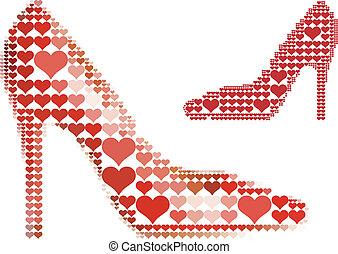 心, 鞋子, 紅色, 圖案