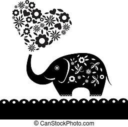 心, flowers., 大象, 卡片, 漂亮
