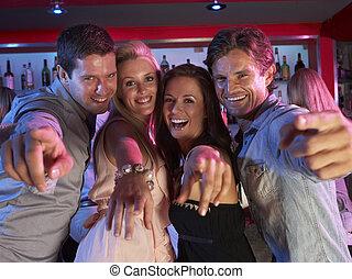 忙, 酒吧, 人們, 年輕, 樂趣, 組, 有