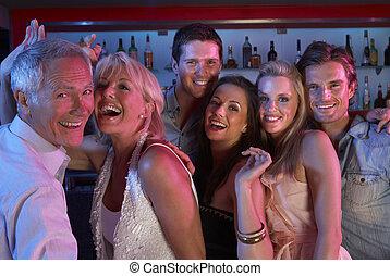 忙, 酒吧, 人們, 樂趣, 組, 有