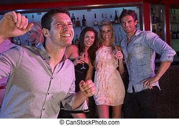 忙, 酒吧, 年輕, 樂趣, 有, 人