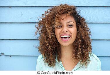 快樂, 微笑的婦女, 年輕, african